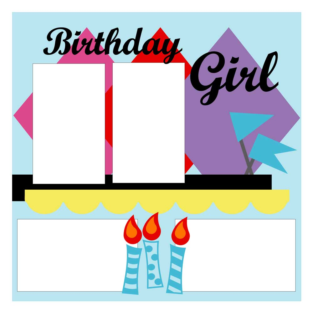 Scrapbook Sketch: cuttable birthday scrapbook layout sketch