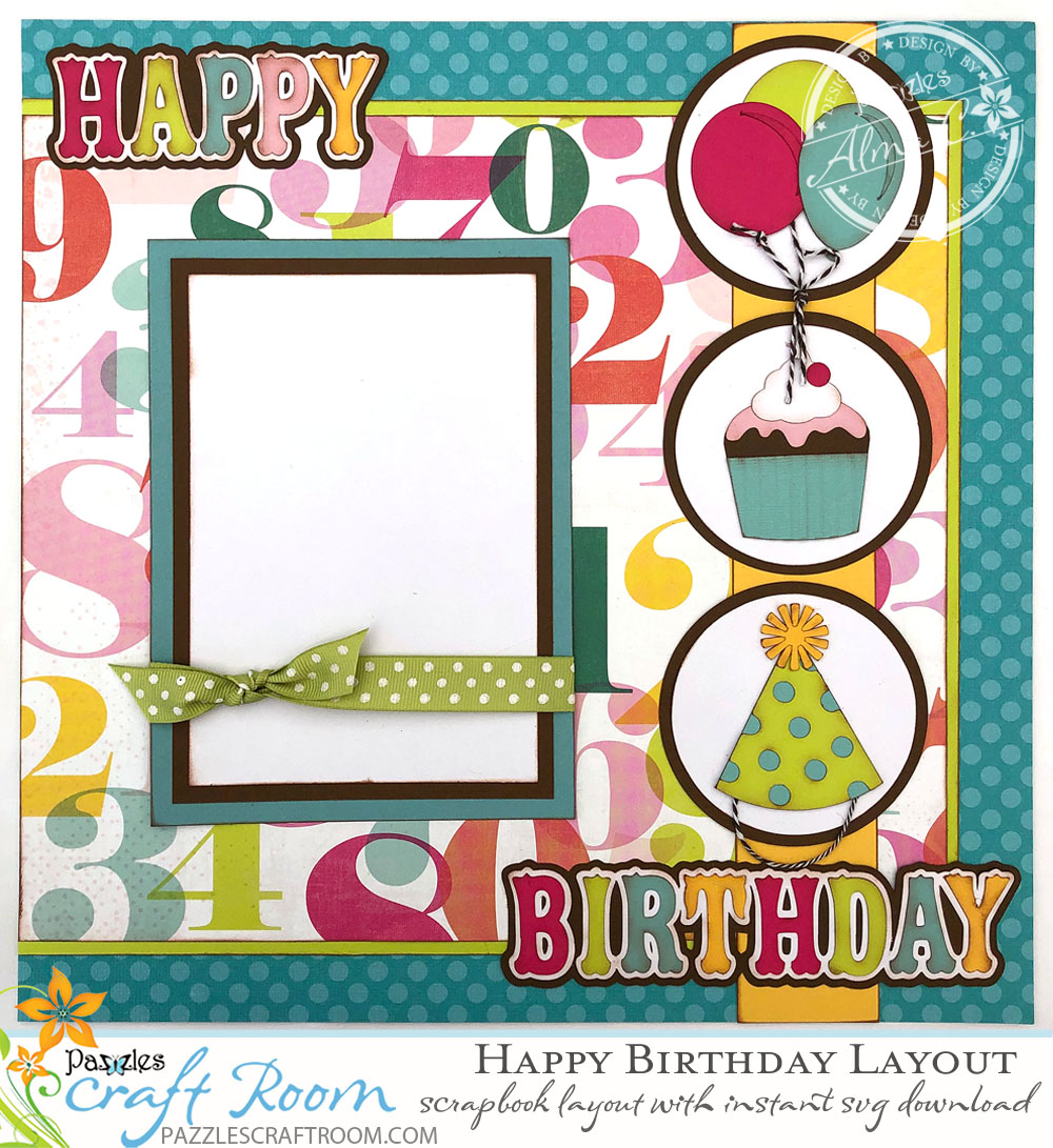 Diy Scrapbook Happy Birthday Layout Instant Svg Download
