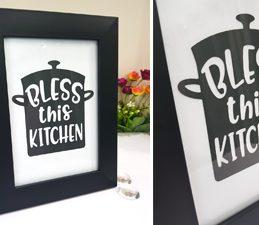 Pazzles DIY Bless this Kitchen Frame with instant SVG download. Compatible with all major electronic cutters including Pazzles Inspiration, Cricut, and Silhouette Cameo. Design by Nida Tanweer.