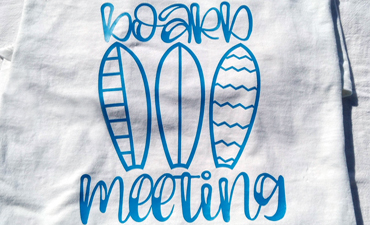 Pazzles Surfing DIY Board Meeting HTV Shirt with instant SVG download. Compatible with all major electronic cutters including Pazzles Inspiration, Cricut, and Silhouette Cameo. Design by Renee Smart.