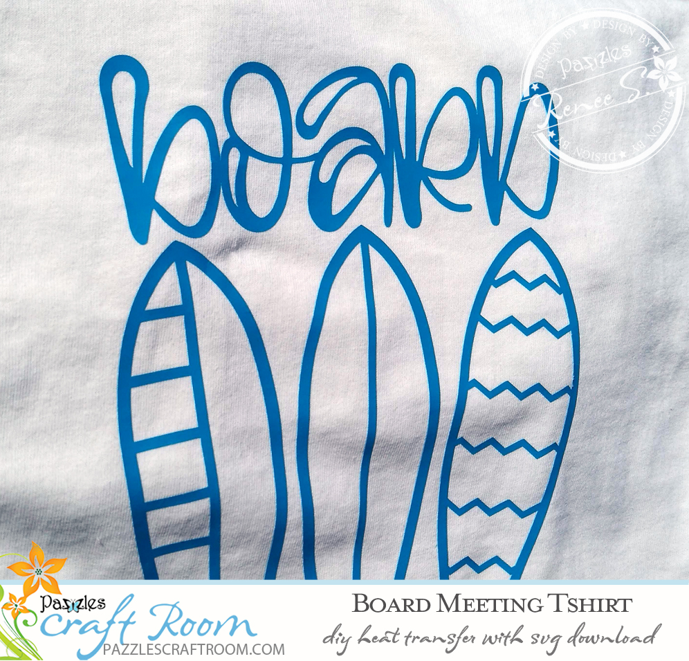 Pazzles DIY Surfing Board Meeting HTV Shirt with instant SVG download. Compatible with all major electronic cutters including Pazzles Inspiration, Cricut, and Silhouette Cameo. Design by Renee Smart.