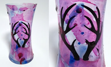 DIY Pazzles Marbelized Boho Vase using nail polish and vinyl with SVG download. Compatible with all major electronic cutters including Pazzles Inspiration, Cricut, and Silhouette Cameo. By Renee Smart.