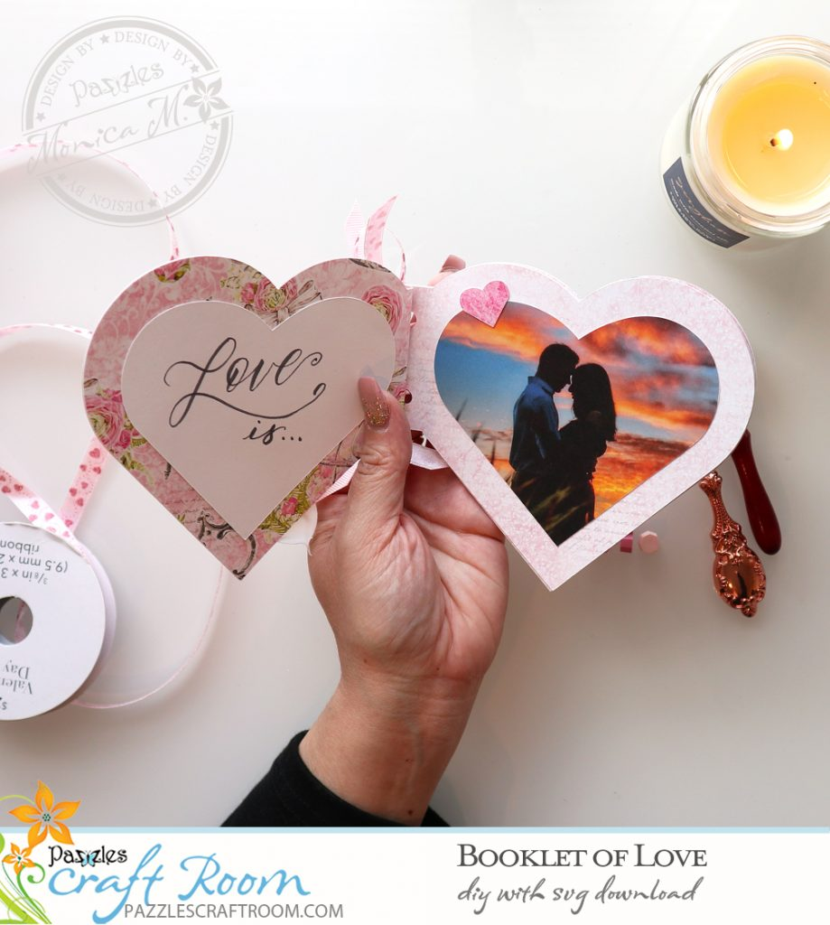 Pazzles DIY Booklet of Love Mini Album. Instant SVG download compatible with all major electronic cutters including Pazzles Inspiration, Cricut, and Silhouette Cameo. Design by Monica Martinez.