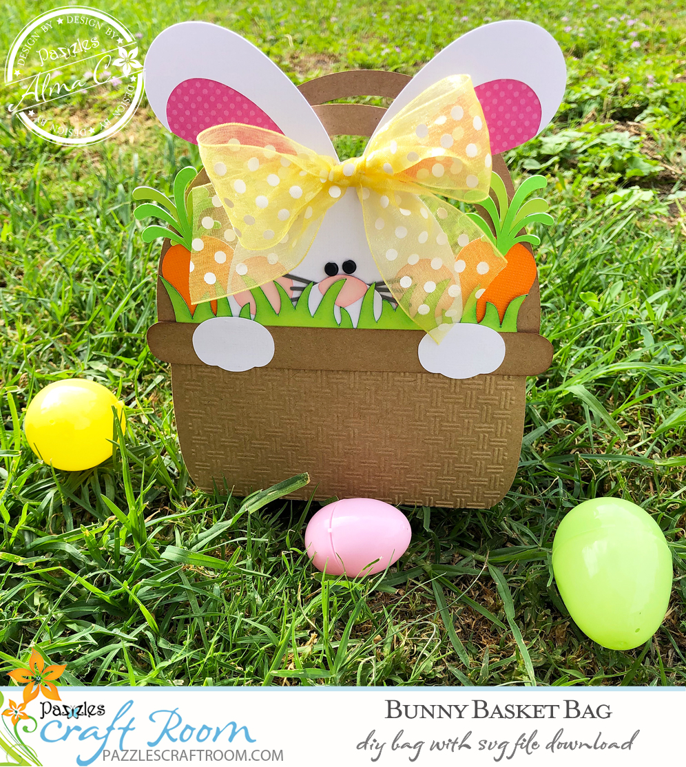 Pazzles DIY Bunny Easter Bag with instant SVG download. Compatible with all major electronic cutters including Pazzles Inspiration, Cricut, and Silhouette Cameo. Design by Alma Cervantes.