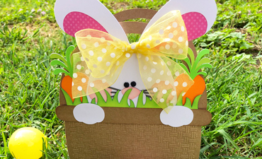 Pazzles DIY Bunny Basket Easter Bag with instant SVG download. Compatible with all major electronic cutters including Pazzles Inspiration, Cricut, and Silhouette Cameo. Design by Alma Cervantes.