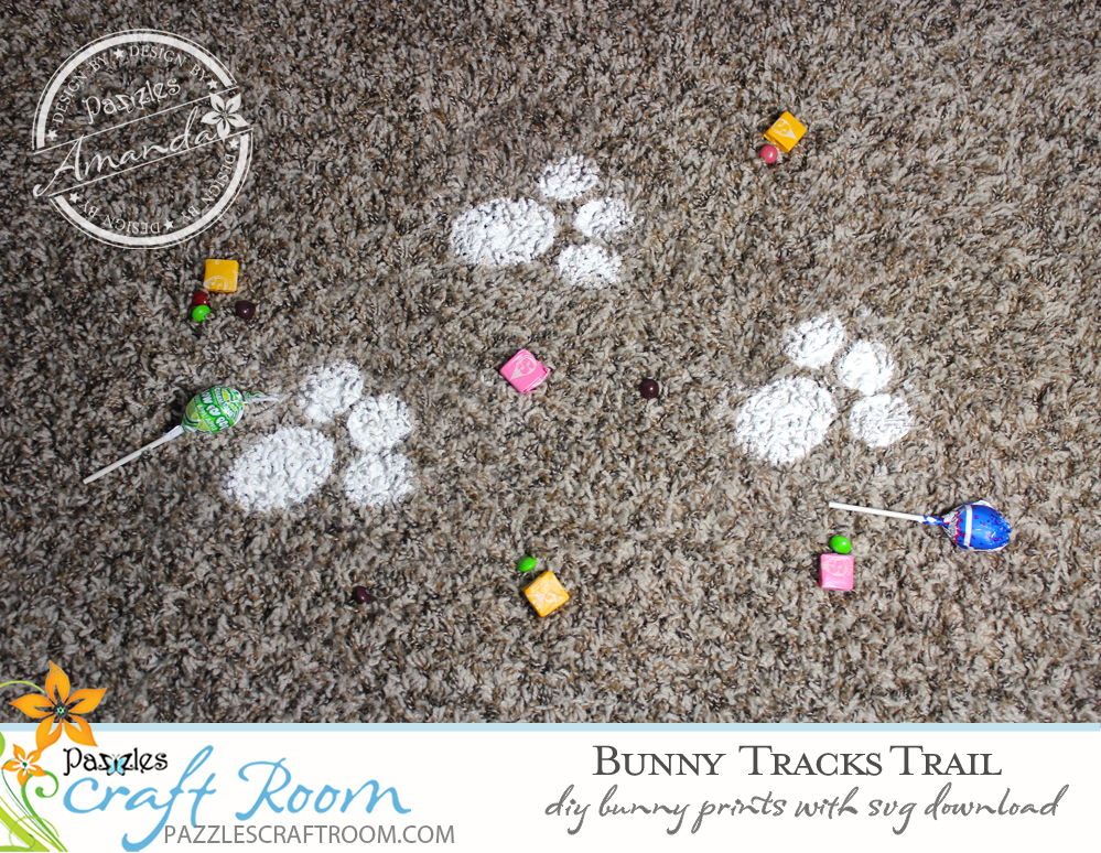 Pazzles DIY Bunny Tracks Trail with instant SVG download. Instant SVG download compatible with all major electronic cutters including Pazzles Inspiration, Cricut, and Silhouette Cameo. Design by Amanda Vander Woude.