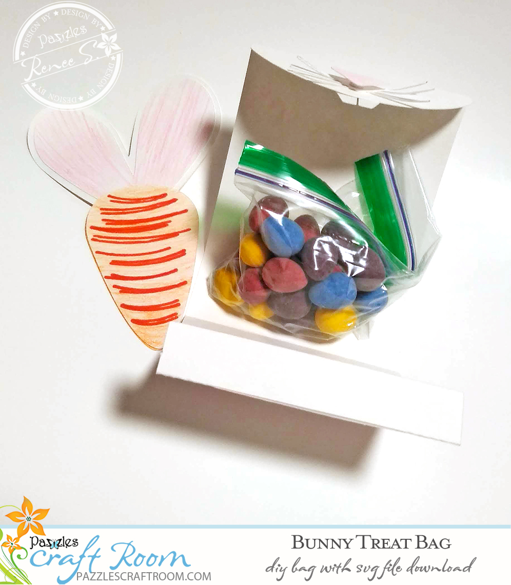 Pazzles DIY Bunny Treat Bag with instant SVG download. Compatible with all major electronic cutters including Pazzles Inspiration, Cricut, and Silhouette Cameo. Design by Renee Smart.