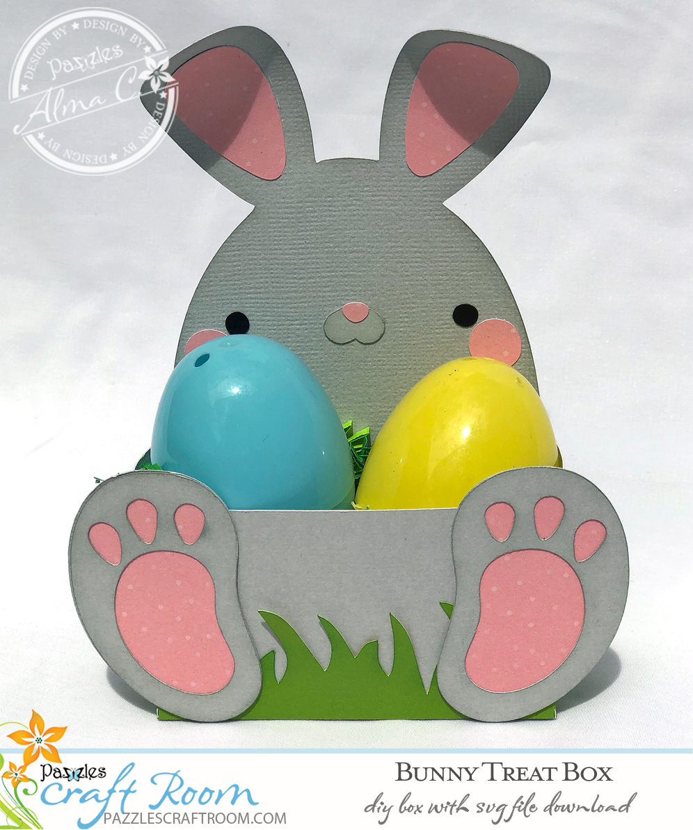 Pazzles DIY Bunny Treat Box for Easter with instant SVG download. Compatible with all major electronic cutters including Pazzles Inspiration, Cricut, and Silhouette Cameo. Design by Alma Cervantes from SVGCuttables.