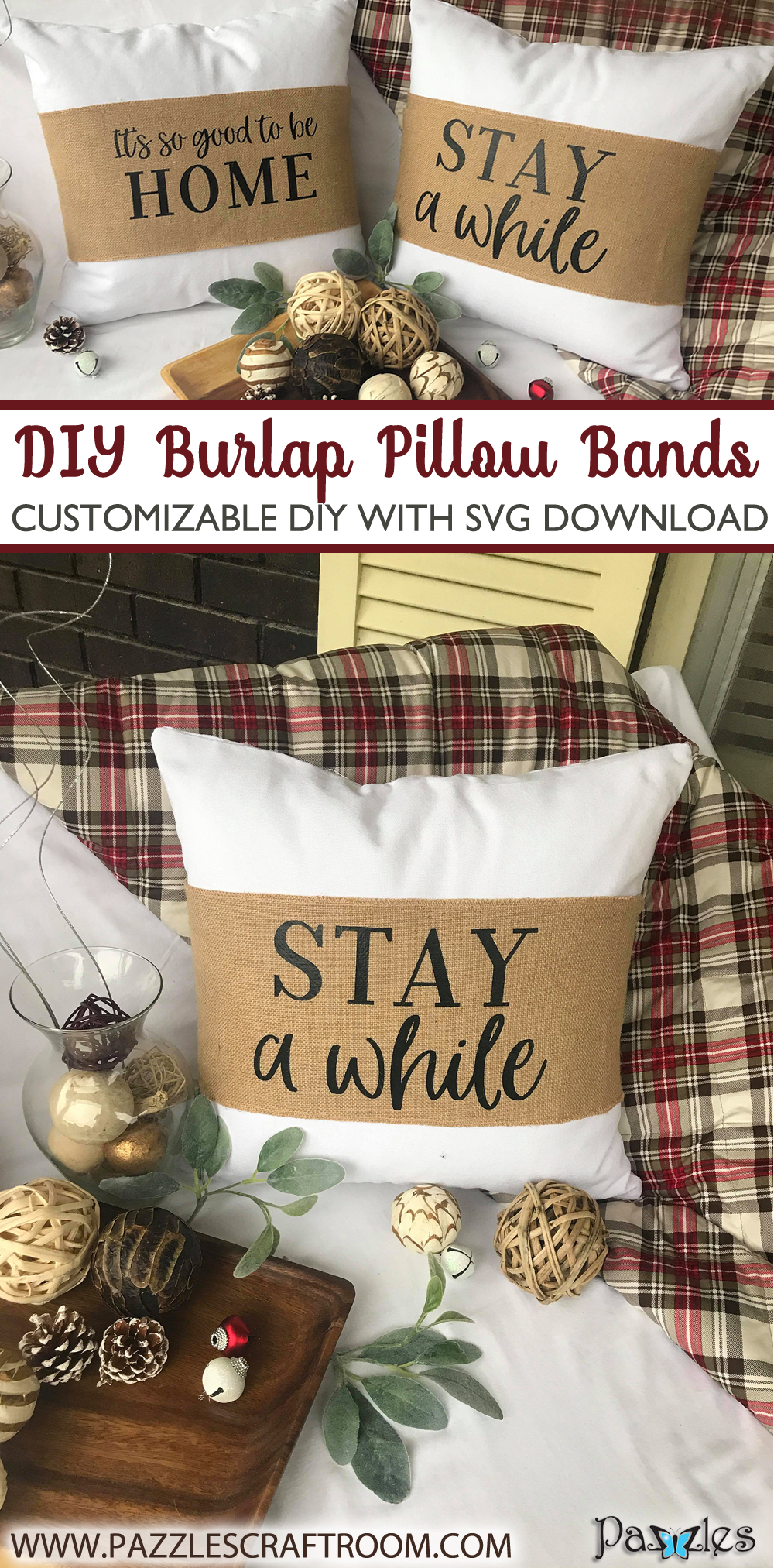 Pazzles DIY Burlap Pillow Band with instant SVG download. Compatible with all major electronic cutters including Pazzles Inspiration, Cricut, and Silhouette Cameo. Project by Lisa Reyes.