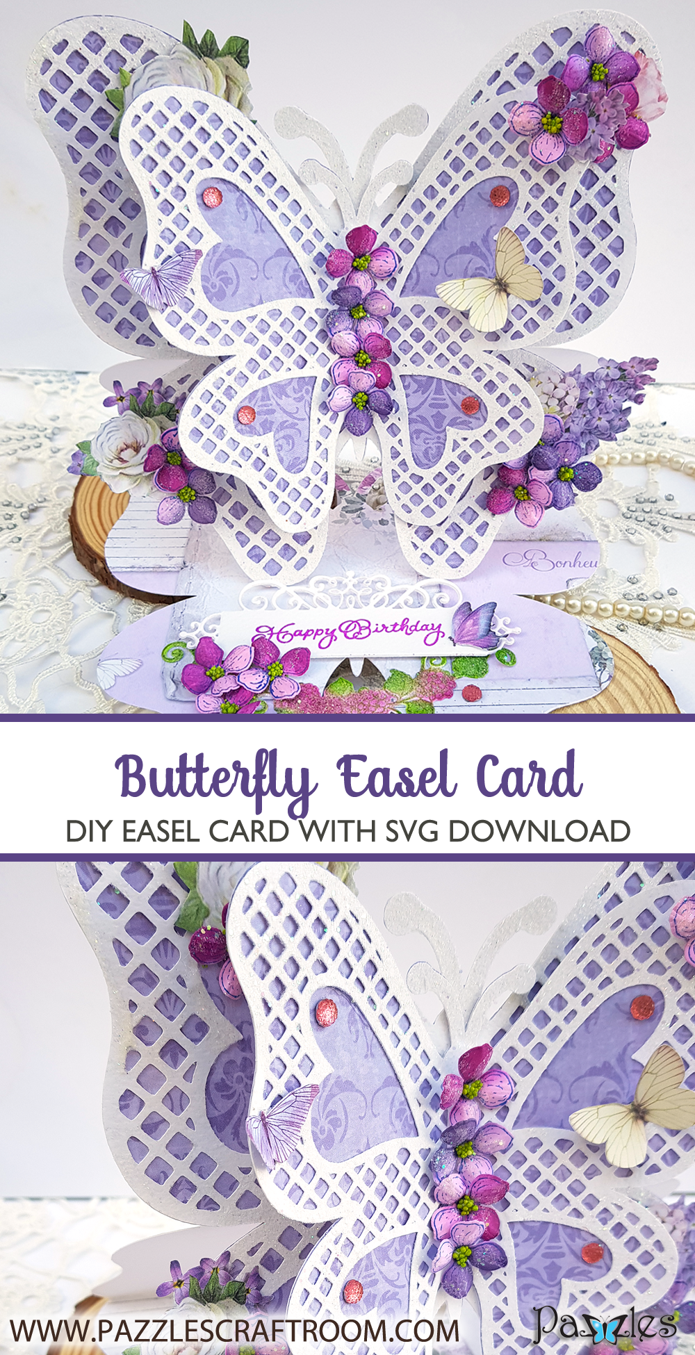 Pazzles DIY Butterfly Easel Card with instant SVG download. Compatible with all major electronic cutters including Pazzles Inspiration, Cricut, and Silhouette Cameo. Design by Nida Tanweer.