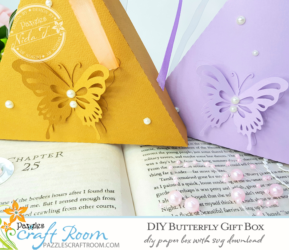 Pazzles DIY Butterfly Gift Box with instant SVG download. Compatible with all major electronic cutters including Pazzles Inspiration, Cricut, and Silhouette Cameo. Design by Nida Tanweer.