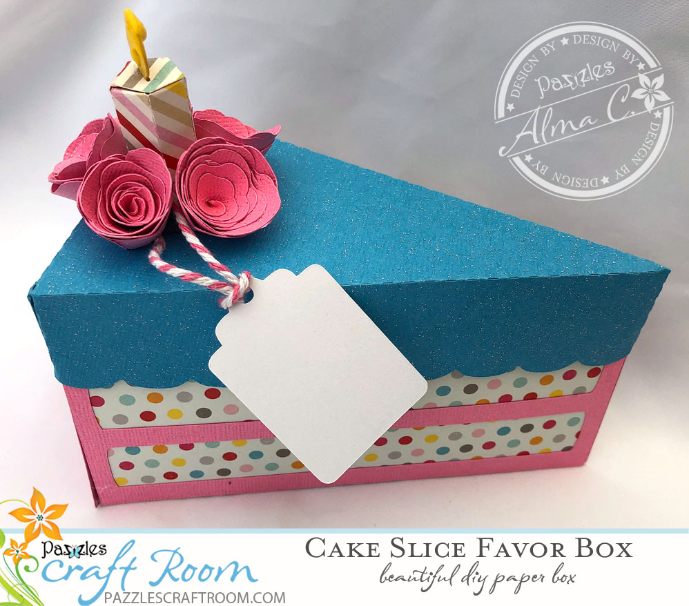 Pazzles DIY Cake Slice Favor Box with Instant SVG Download by Alma Cervantes