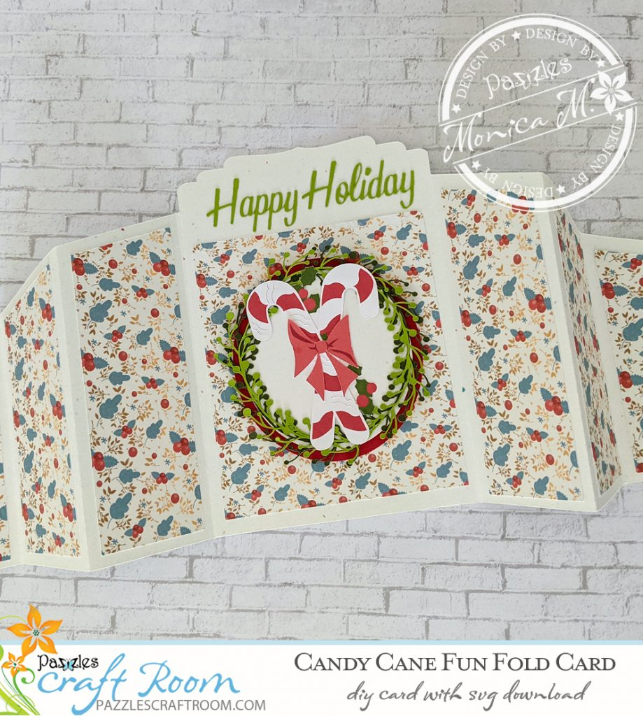 Pazzles DIY Candy Cane Fun Fold Holiday Card with instant SVG download. Compatible with all major electronic cutters including Pazzles Inspiration, Cricut, and Silhouette Cameo. Design by Monica Martinez.