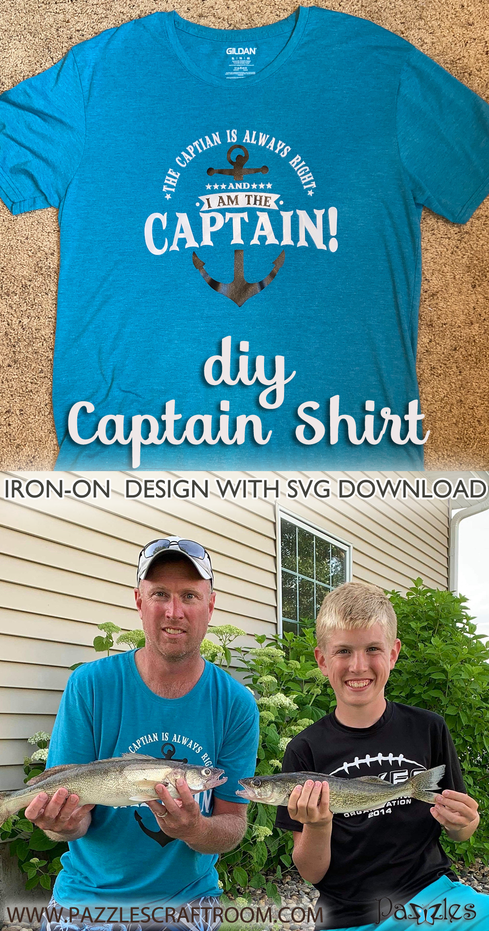 Pazzles DIY Captain Shirt Iron On Design with instant SVG download. Compatible with all major electronic cutters including Pazzles Inspiration, Cricut, and Silhouette Cameo. Design by Sara Weber.