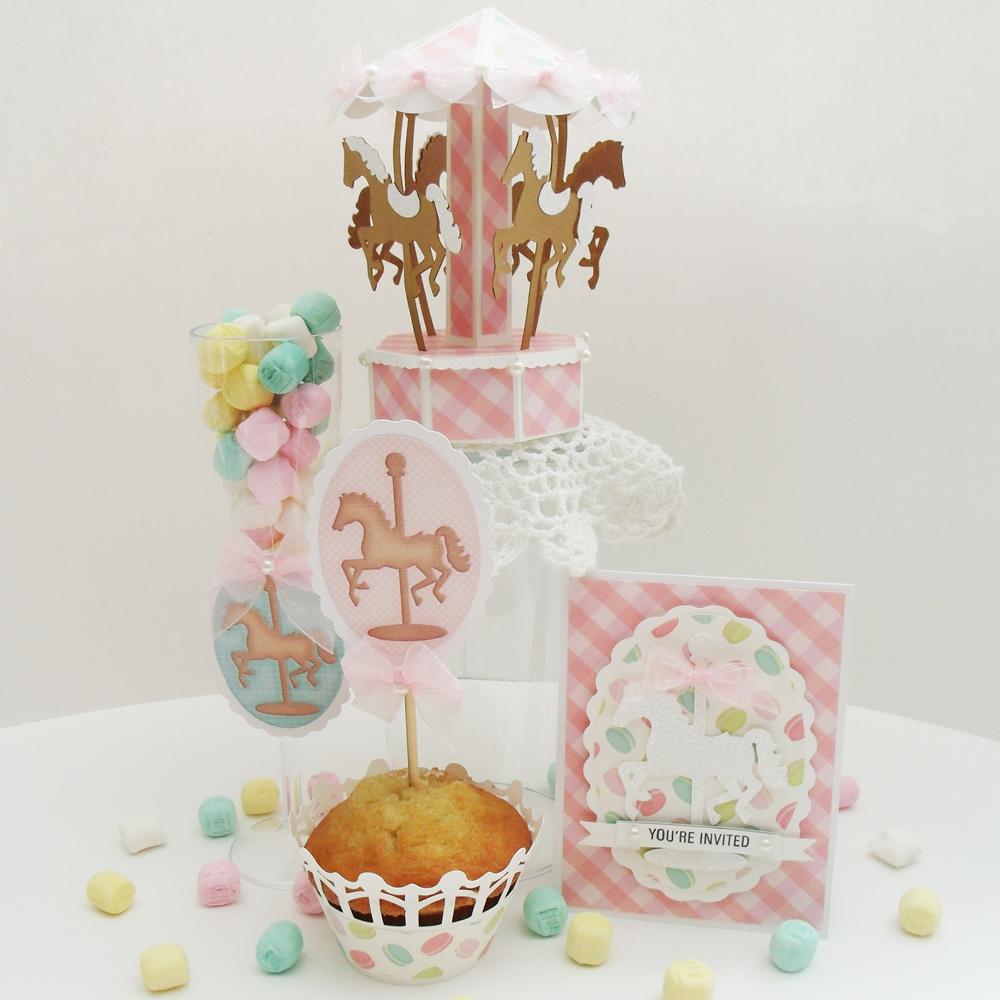 3D Dimensional Paper Carousel Party Decorations Set
