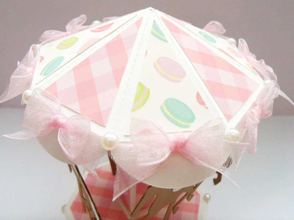 3D Dimensional Paper Carousel Party Favor Top