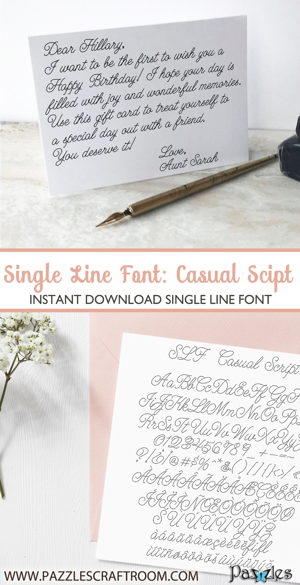 Pazzles Casual Script Single Line Font with instant download. Compatible with all major electronic cutters including Pazzles Inspiration, Cricut, and Silhouette Cameo. Design by Leslie Peppers.