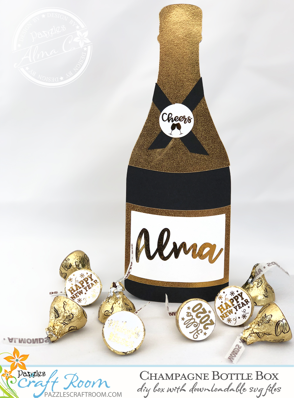 Pazzles DIY Champagne Bottle Box with instant SVG download. Compatible with all major electronic cutters including Pazzles Inspiration, Cricut, and Silhouette Cameo. Design by Alma Cervantes.
