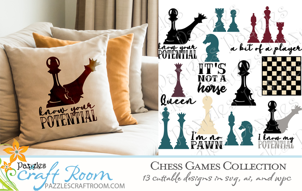 Pazzles DIY Chess Games Collection with 16 chess cuttable files in SVG, AI, and WPC. Instant SVG download compatible with all major electronic cutters including Pazzles Inspiration, Cricut, and Silhouette Cameo. Design by Amanda Vander Woude.