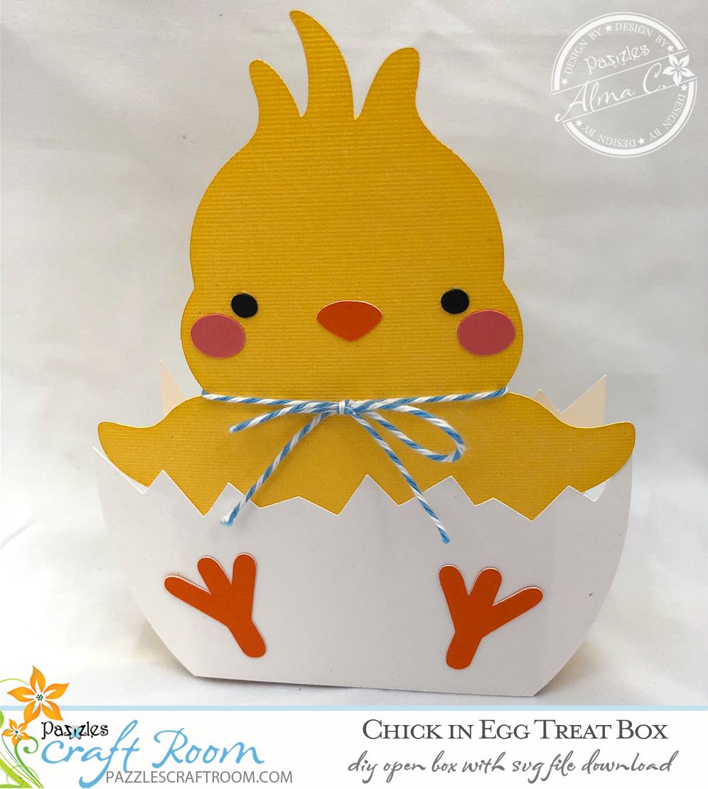 Pazzles DIY Chick Treat Box with instant SVG download. Compatible with all major electronic cutters including Pazzles Inspiration, Cricut, and Silhouette Cameo. Design by Alma Cervantes.