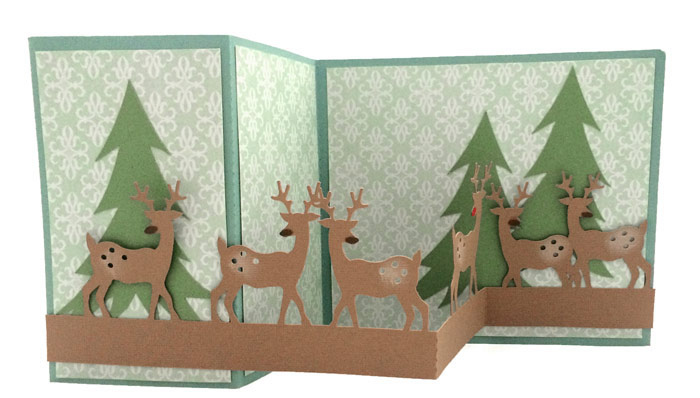 Christmas Z Fold card with reindeer border. Cut files from Pazzles.