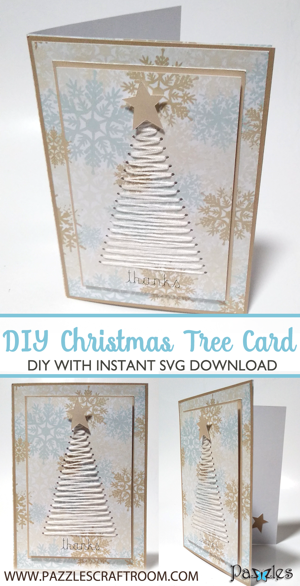 Pazzles DIY Christmas Tree Card with instant SVG download compatible with all major electronic cutters including Pazzles Inspiration, Cricut, and Silhouette Cameo. Design by Renee Smart.