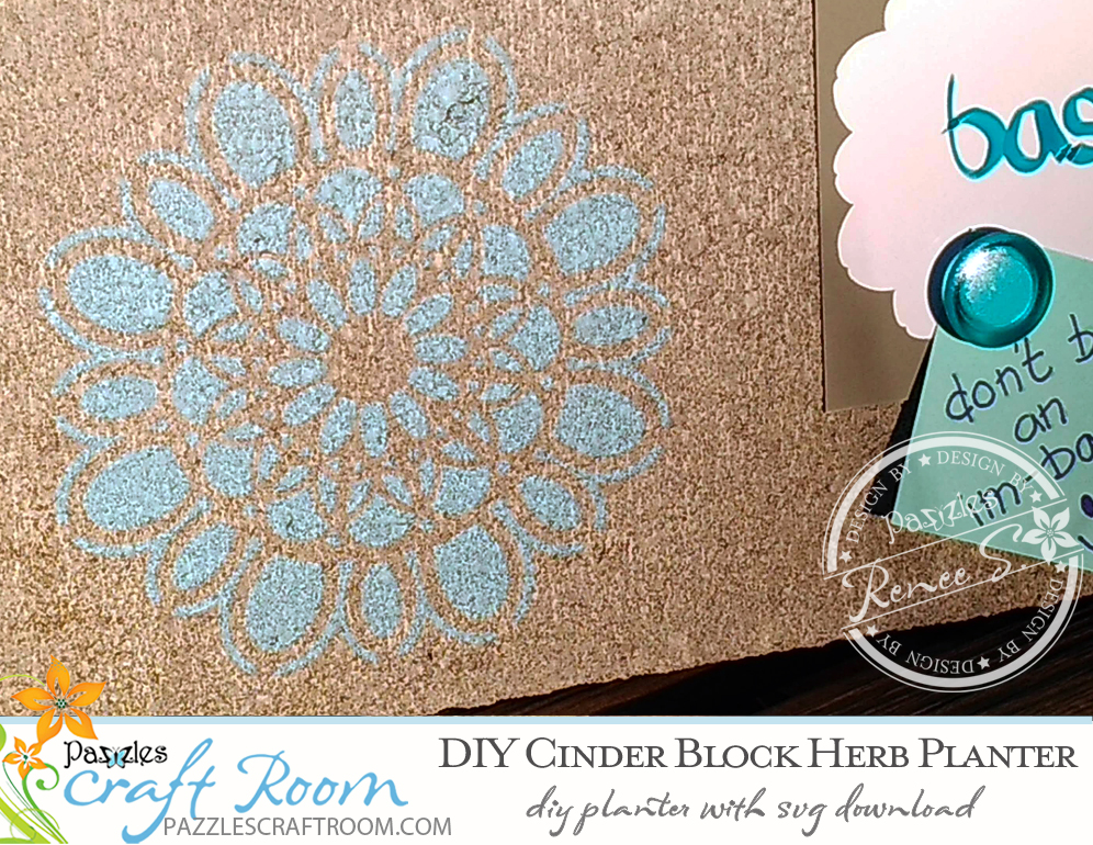 Pazzles DIY Cinder Block Planter with instant SVG download. Compatible with all major electronic cutters including Pazzles Inspiration, Cricut, and Silhouette Cameo. Design by Renee Smart.