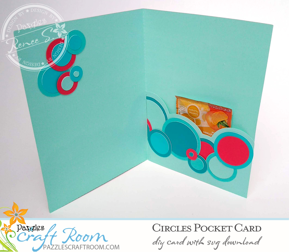 Pazzles DIY Circles Pocket Card with instant SVG download. Compatible with all major electronic cutters including Pazzles Inspiration, Cricut, and Silhouette Cameo. Design by Renee Smart.