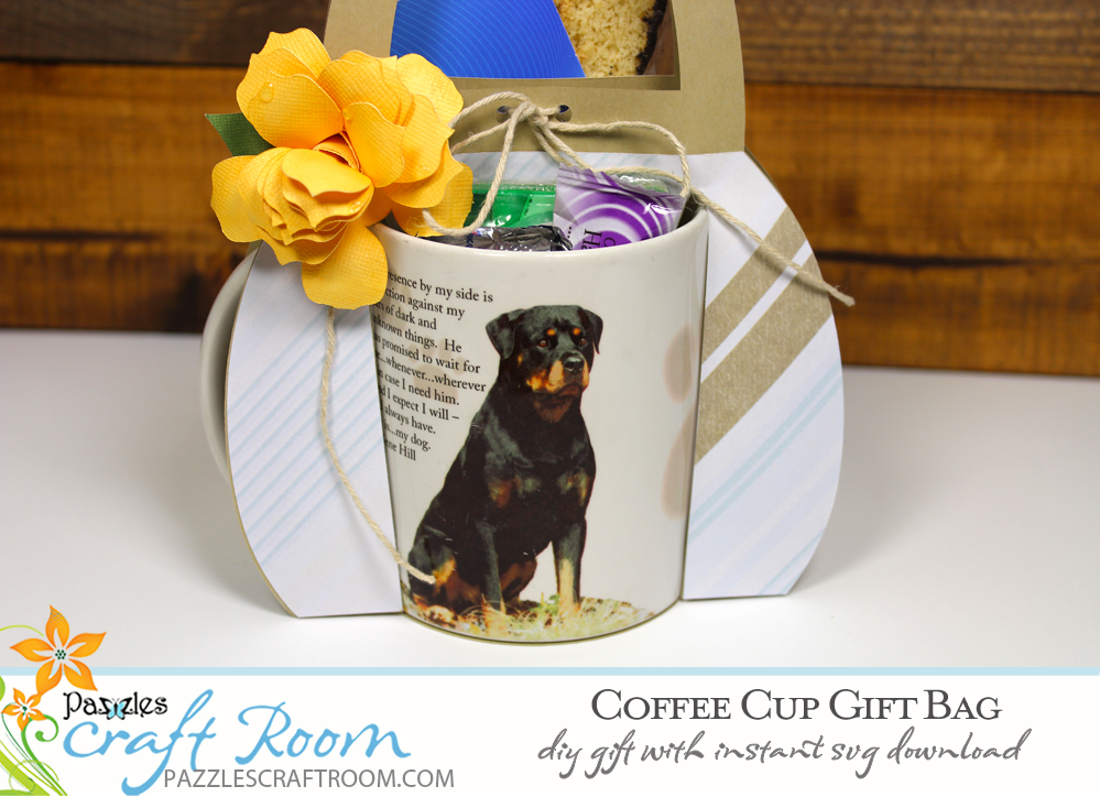 Pazzles DIY Coffee Cup Gift Bag. Instant SVG download compatible with all major electronic cutters including Pazzles Inspiration, Cricut, and Silhouette Cameo. Design by Amanda Vander Woude.
