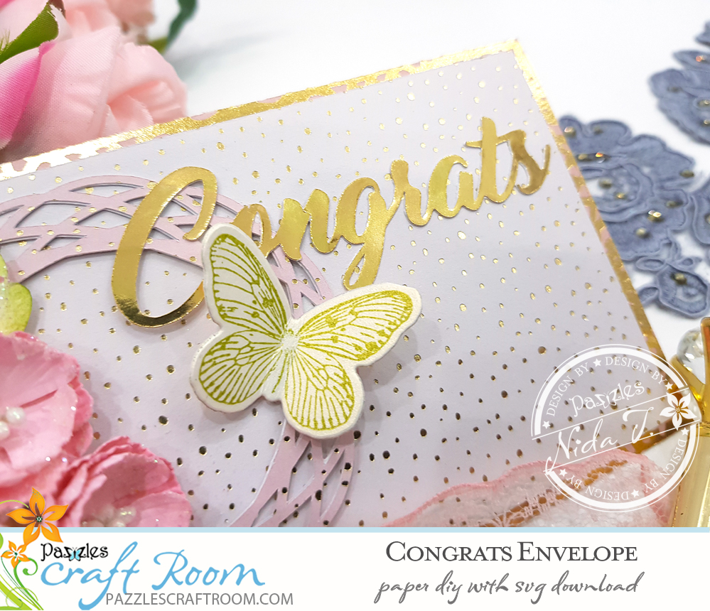 Pazzles DIY Congratulations Envelope with instant SVG download.  Instant SVG download compatible with all major electronic cutters including Pazzles Inspiration, Cricut, and Silhouette Cameo. Design by Nida Tanweer.