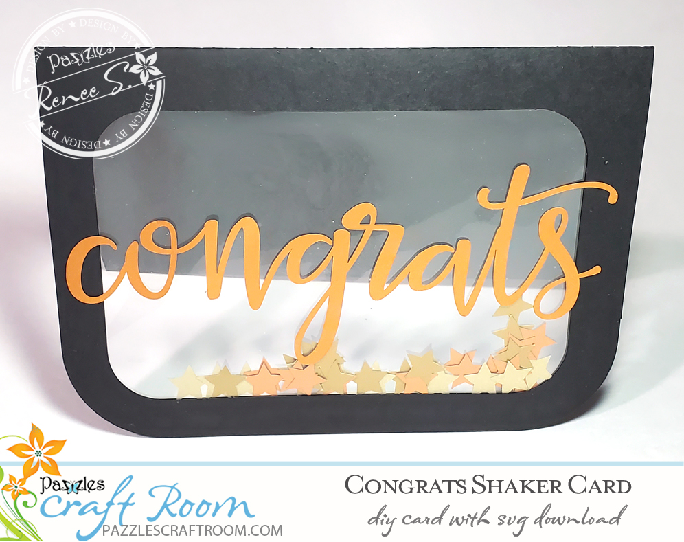 Pazzles DIY Congrats Shaker Card with instant SVG download. Compatible with all major electronic cutters including Pazzles Inspiration, Silhouette Cameo, and Cricut. Design by Renee Smart.