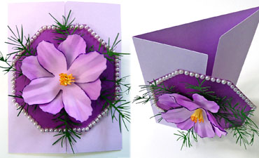 Pazzles DIY Foam Flower Cosmos Gatefold Card by Julie Flanagan