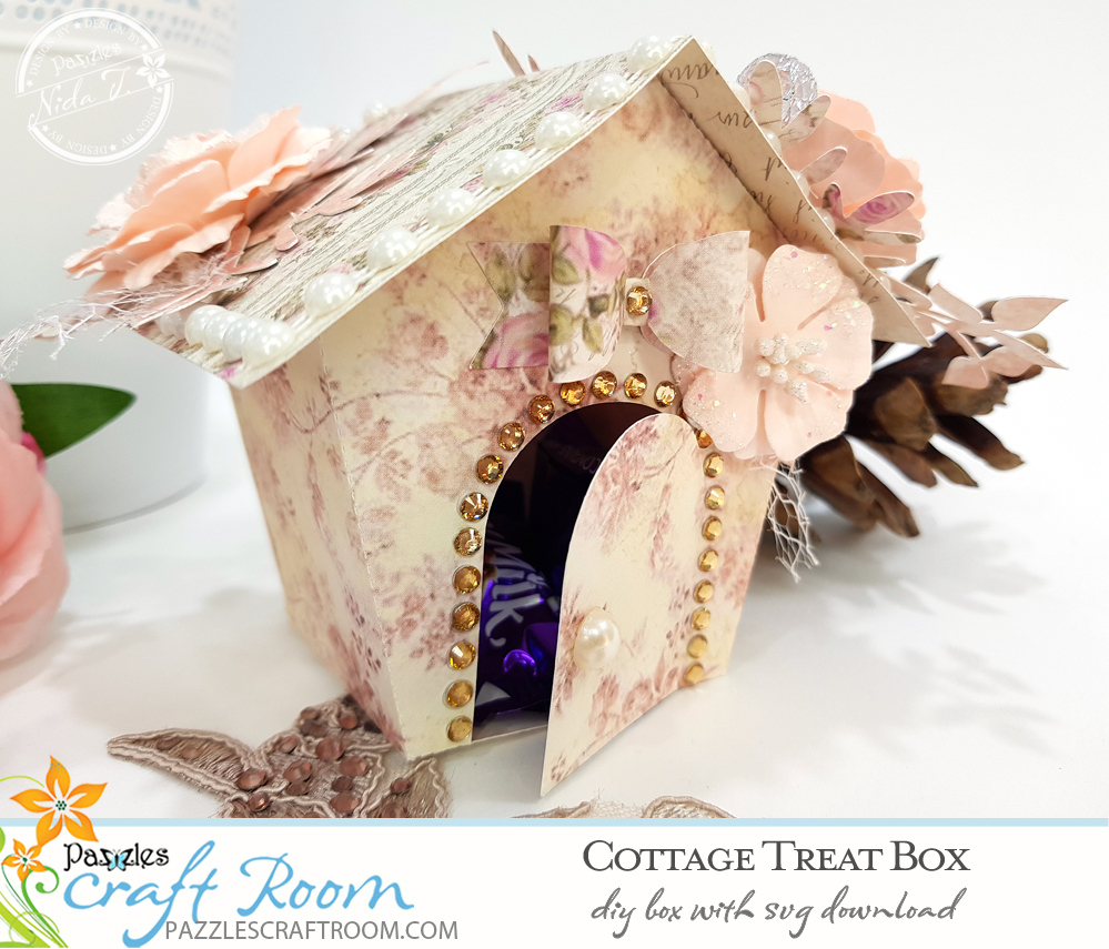 Pazzles DIY Cottage Treat Box with SVG download. Instant SVG download compatible with all major electronic cutters including Pazzles Inspiration, Cricut, and Silhouette Cameo. Design by Nida Tanweer.