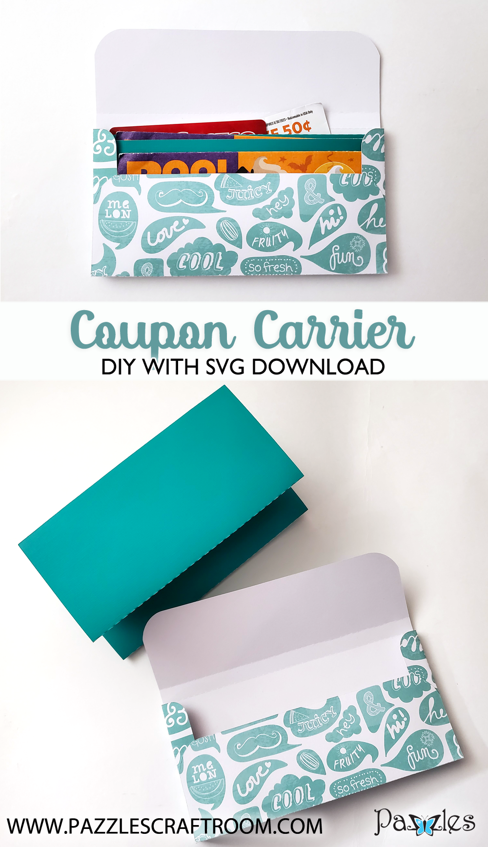 Pazzles DIY Coupon Carrier with instant SVG download. Compatible with all major electronic cutters including Pazzles Inspiration, Cricut, and Silhouette Cameo. Design by Renee Smart.