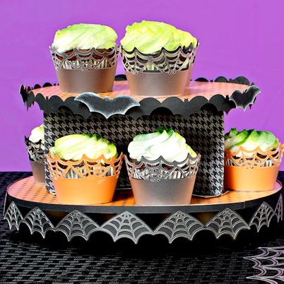 Spiderweb Cupcake Wrappers and Stand