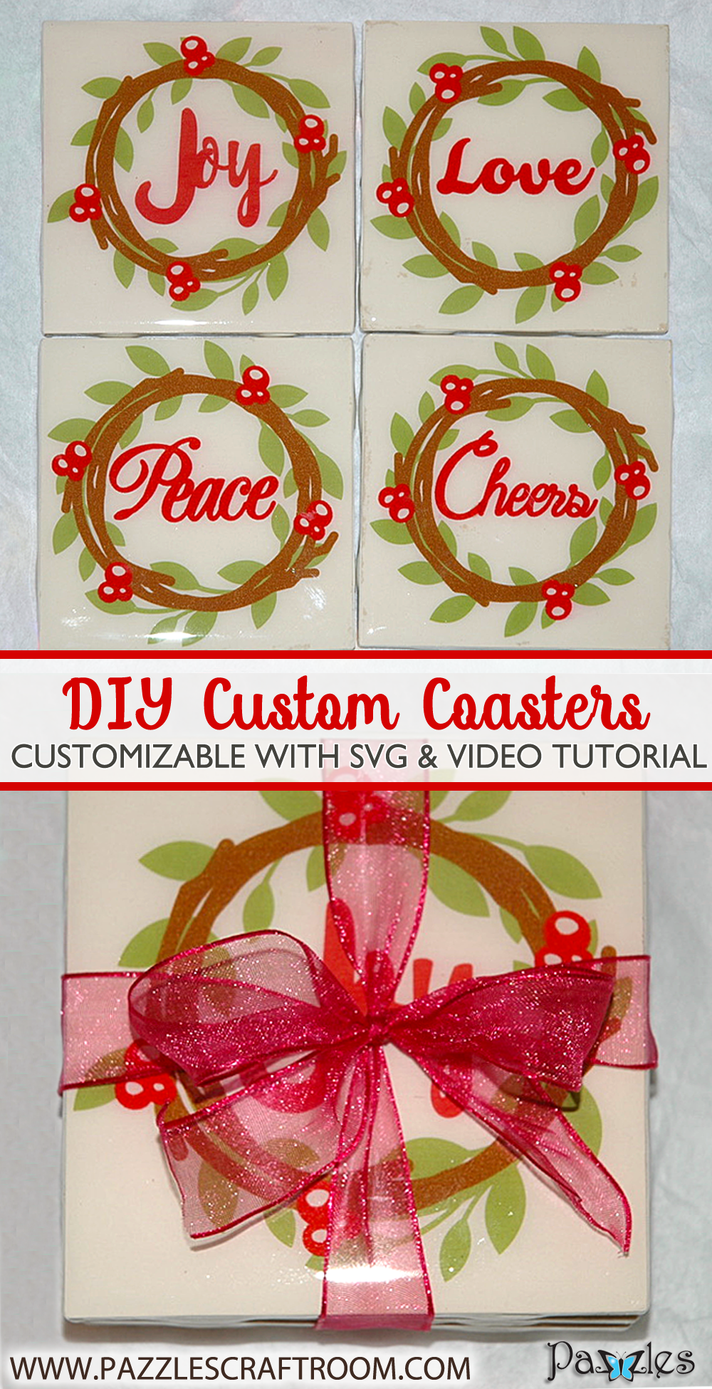 Pazzles DIY Custom Coasters with SVG download compatible with all major electronic cutters including Pazzles Inspiration, Cricut, and Silhouette Cameo. By Judy Hanson.