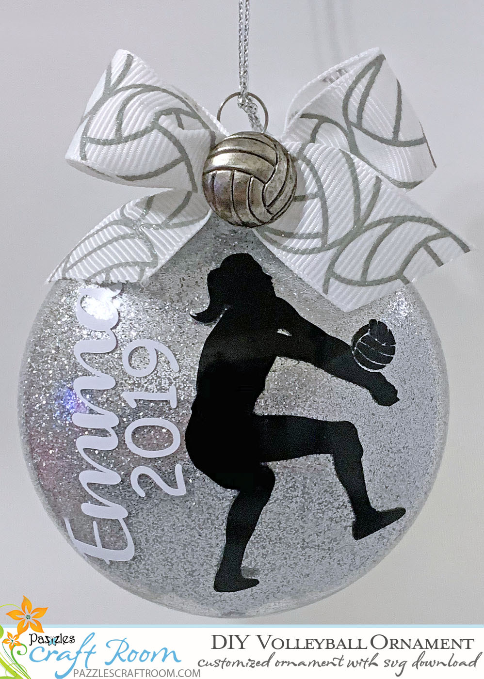 Pazzles Vinyl DIY Custom Volleyball Ornament with instant SVG download. Compatible with all major electronic cutters including Pazzles Inspiration, Cricut, and Silhouette Cameo. Design by Leslie Reyna.