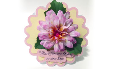 Pazzles DIY 3D Foam Flower Dahlia Scallop Card by Julie Flanagan
