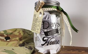 Pazzles DIY Days Until Home Countdown Jar for Deployment with instant SVG download. Compatible with all major electronic cutters including Pazzles Inspiration, Cricut, and Silhouette Cameo. Design by Amanda Vander Woude.