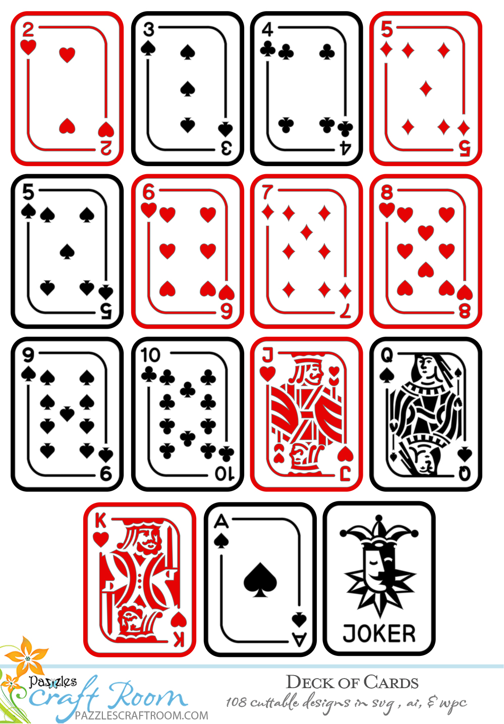 Pazzles DIY Deck of Cards Collection of 108 designs. Instant SVG download compatible with all major electronic cutters including Pazzles Inspiration, Cricut, and Silhouette Cameo. Design by Amanda Vander Woude.