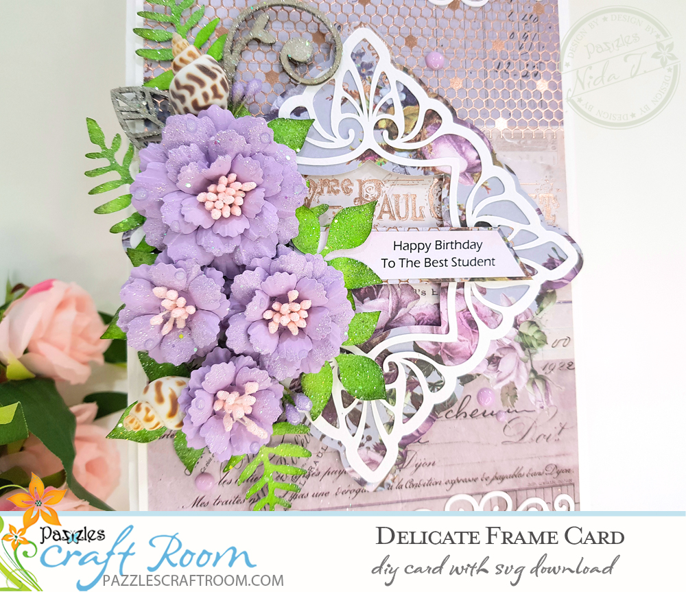 Pazzles DIY Delicate Frame Card with instant SVG download. Compatible with all major electronic cutters including Pazzles Inspiration, Cricut, and Silhouette Cameo. Design by Nida Tanweer.