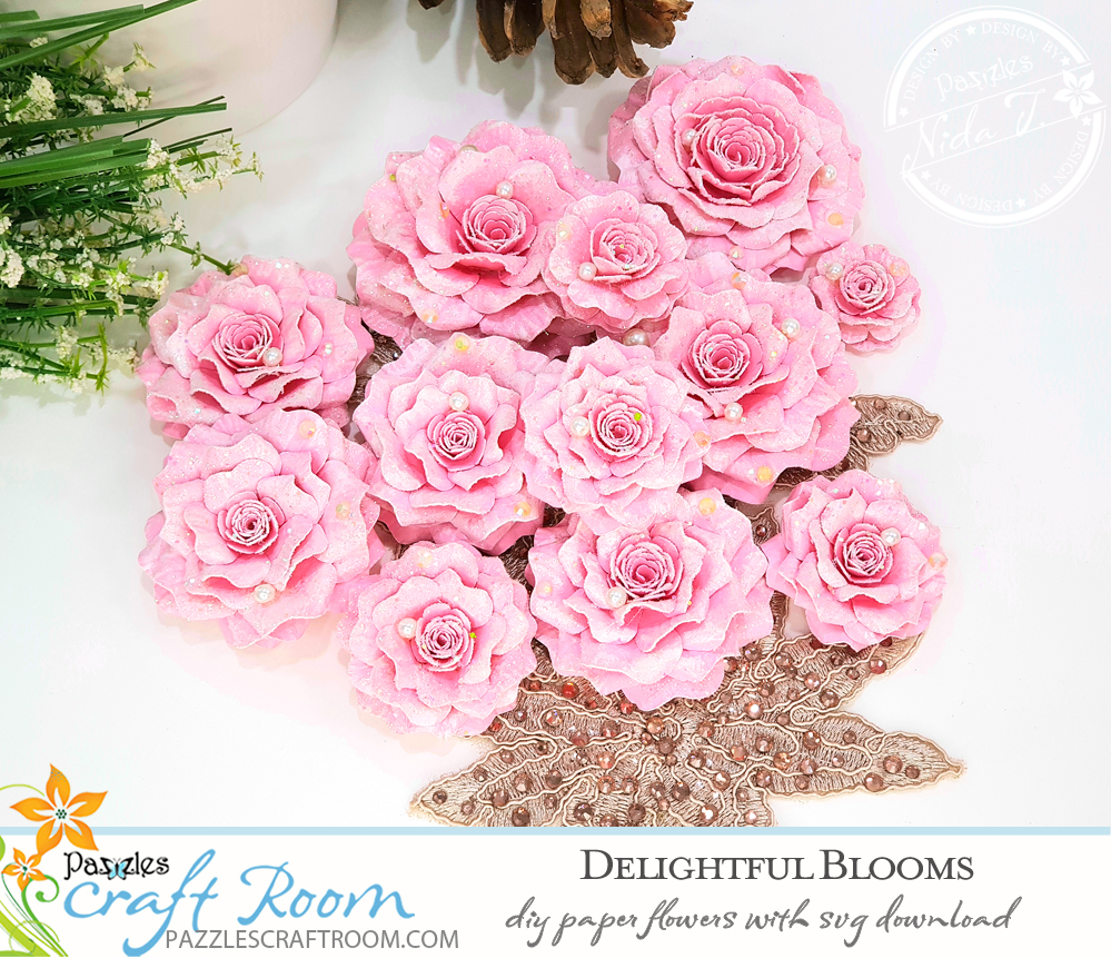 Pazzles DIY paper flowers delightful blooms with instant SVG download. Instant SVG download compatible with all major electronic cutters including Pazzles Inspiration, Cricut, and Silhouette Cameo. Design by Nida Tanweer.
