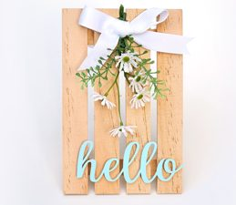 Pazzles DIY Desktop Hello Garden Pallet with instant SVG download. Instant SVG download compatible with all major electronic cutters including Pazzles Inspiration, Cricut, and Silhouette Cameo. Design by Renee Smart.