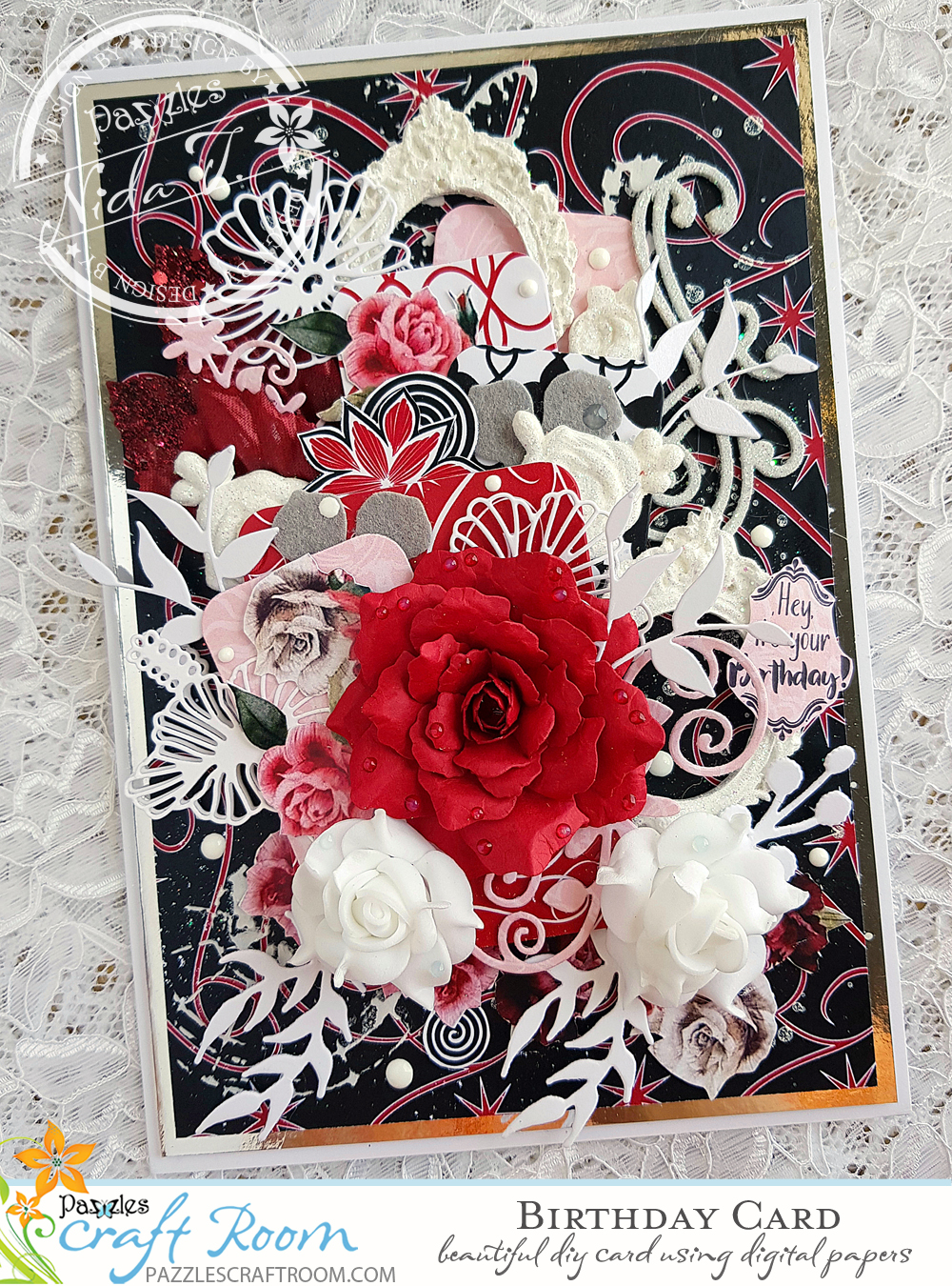 Pazzles DIY Birthday Card with Paper Rose by Nida Tanweer with Paper Flower Tutorial