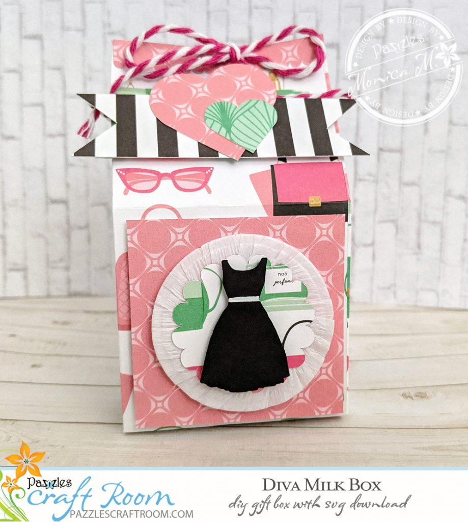 Pazzles DIY Diva Milk Box with instant SVG download. Compatible with all major electronic cutters including Pazzles Inspiration, Cricut, and Silhouette Cameo. Design by Monica Martinez.