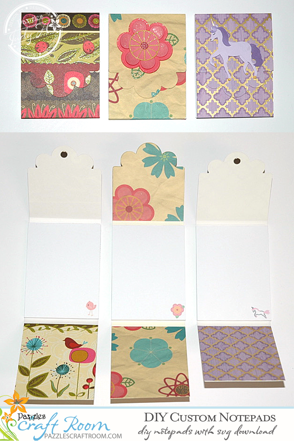 Pazzles DIY Custom Notepads with instant SVG download. Compatible with all major electronic cutters including Pazzles Inspiration, Cricut, and Silhouette Cameo. Design by Judy Hanson.