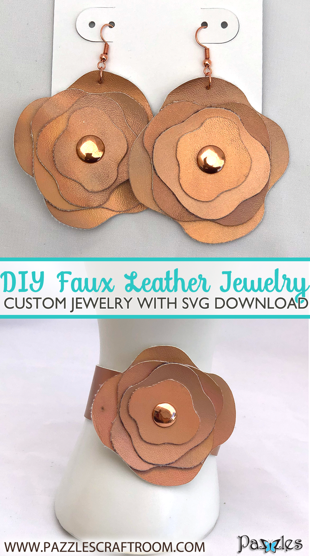Pazzles DIY Faux Leather Jewelry with SVG instant download. Compatible with all major electronic cutters including Pazzles Inspiration, Cricut, and Silhouette Cameo.