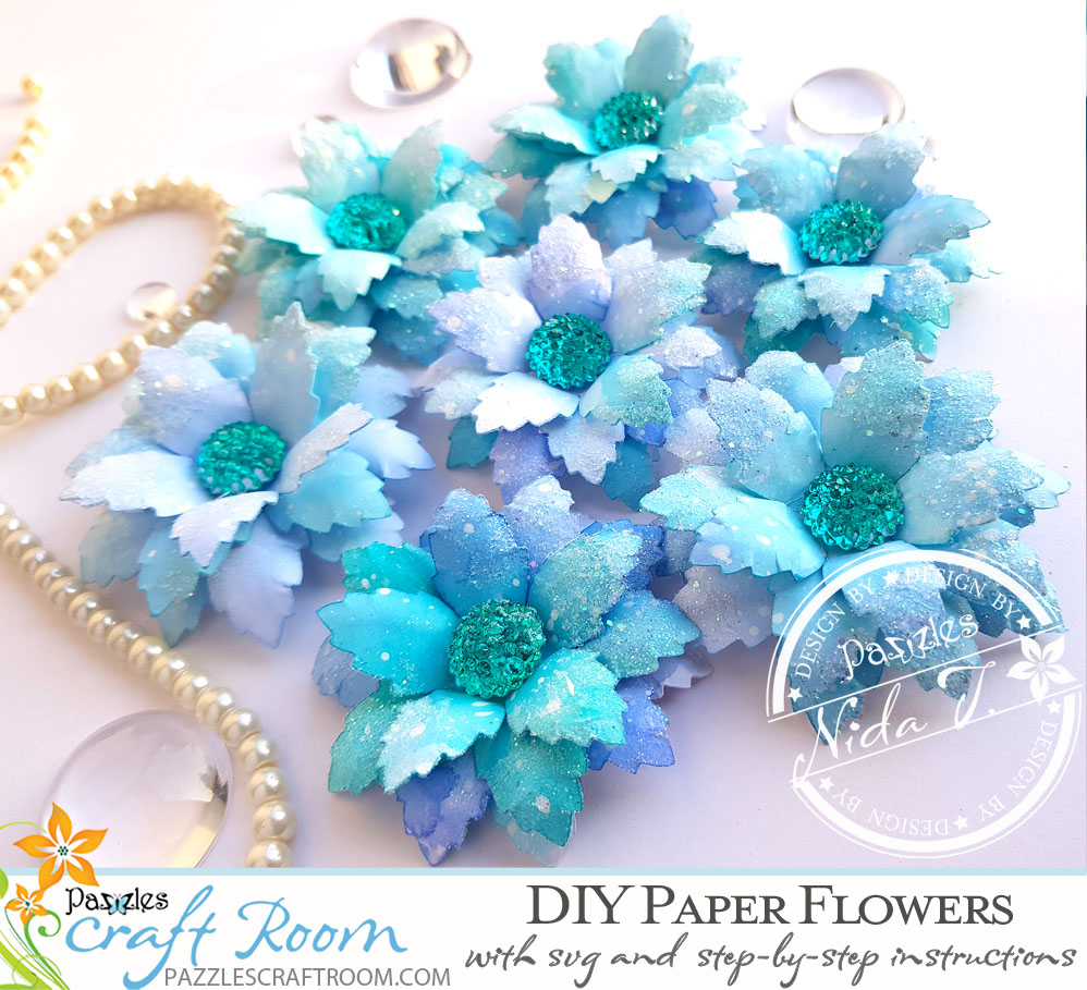 Pazzles Beautiful DIY Paper Flowers with SVG download compatible with all major electronic cutters including Pazzles Inspiration, Cricut, and Silhouette Cameo by Nida Tanweer