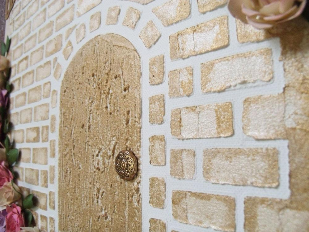Mixed Media Brick Wall Closeup