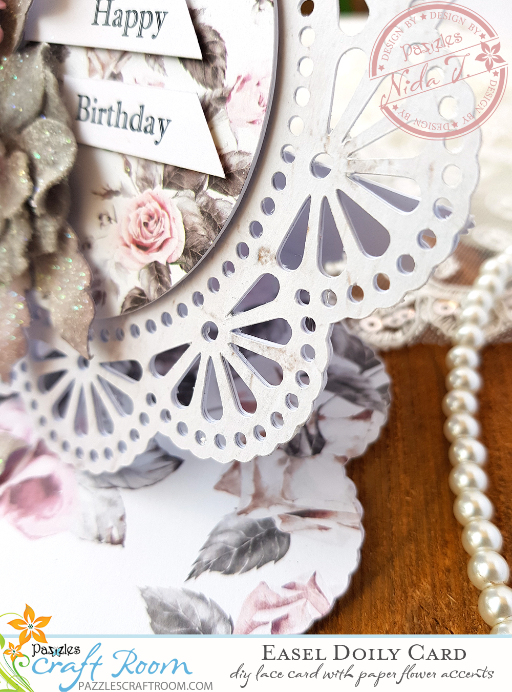 DIY Easel Doily Card with Paper Peony Flowers